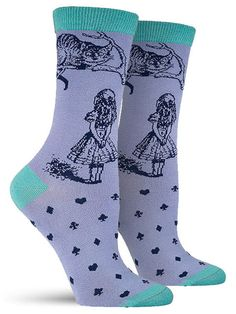In this gorgeous rendition of John Tenniel's illustrations for Alice in Wonderland, Alice and the Cheshire Cat come to life on these unique bamboo socks. Covered in an illustration on the ankle and ca Crazy Socks, Cool Socks, Bamboo Socks, Bamboo Rayon, Blue Crew, Novelty Socks, Colorful Socks, Cheshire Cat, Sock Shoes