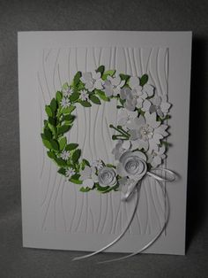 Your place to buy and sell all things handmade Wreath w white flowers, spring wreath, wreath for spring, spring green wreath, white assorted flower STEP-BY-STEP INSTRU. Homemade Greeting Cards, Greeting Cards Handmade, Homemade Cards, Handmade Invitation Cards, Scrapbooking, Scrapbook Cards, Origami, Green Wreath, White Wreath