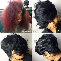 The switch up✂️ Love that heavy bang❤️ #dmvstylist @k.green_hair #shortcut…