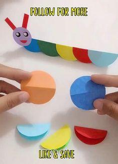 Paper Crafts For Kids, Craft Activities For Kids, Preschool Crafts, Fun Crafts, Craft Ideas, Project Ideas, Hand Crafts For Kids, Summer Crafts For Kids, Toddler Crafts