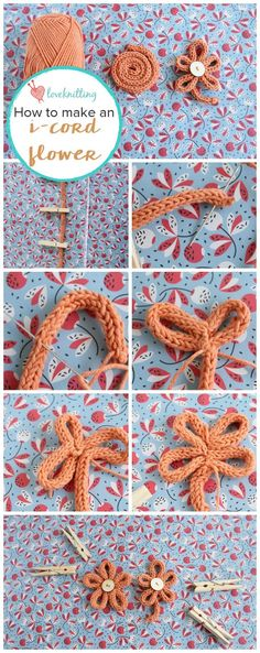 Knit by Bit: free i-cord flower tutorial from LoveKnitting