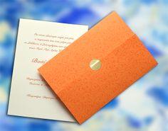 Πολύ Οικονομικό Προσκλητήριο για Γάμο με vintage εκτυπωμένη διακόσμηση, Χρώμα Πορτοκαλί & Ιβουάρ, το κείμενο τυπωμένο σε εσωτερική κάρτα, χωρίς φάκελο - www.Prosklitirio-eShop.gr Vintage, Primitive