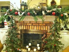 My version of a Natural Christmas Mantel.