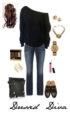 """Autumn Days"" by dressed-diva on Polyvore featuring Gucci, Silver Jeans Co., Versace, BCBGMAXAZRIA, Saks Fifth Avenue, Elizabeth and James, MKF Collection, Bare Escentuals and Tom Ford"
