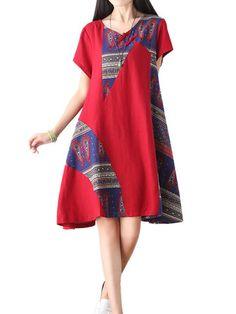 Vintage Women Ethnic Pattern Patchwork Linen Swing Dress