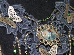 Black lace chocker necklace collar with butterflys steampunk £24.50
