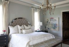 Silver Strand in master bedroom by Julie Couch Interiors Silver Strand is a cooler color that creates a spa-like and soothing atmosphere. If you like Sea Salt, Silver Strand is very similar in color. Sherwin Williams Silver Strand, Bedroom Furniture Online, White Bedroom Furniture, Silver Strand Paint, Guest Bedrooms, Master Bedroom, Guest Room, Bedroom Paint Colors, Interiors
