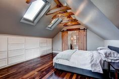 Top Loft Conversion Ideas That Will Transform Your Attic - Create a Master Suite These loft conversion ideas will have you wanting to hire a contractor straight away! Make the most of your loft space with these transformations. Attic Master Bedroom, Attic Bedroom Designs, Attic Rooms, Attic Spaces, Bedroom Loft, Bedroom Ideas, Attic Bathroom, Attic House, Attic Bedroom Decor