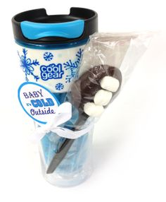 It may be cold outside, but pair this holiday coffee mug with a chocolate stirring spoon and you will melt every coffee lovers heart! #CoolGear