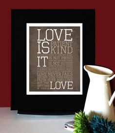"""1 Corinthians 13: LOVE, Inspirational Quote, """"Love is Patient, Love is Kind"""", Art for Print, Subway Art. Unframed"""