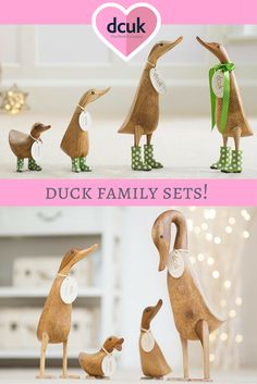 Our Duck family sets come in a range of designs, including four hand carved, hand painted ducks. Each can be personalised with the name of your choice, making a quacking gift or home decor accessories! See the full range on our website at The Duck Company, DCUK!