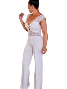 Women Sexy Jumpsuit U Neck Sleeveless Shaping Wide Leg Jumpsuit - TD Mercado Crop Top Outfits, Sexy Outfits, Overall, Look Chic, Colorful Fashion, Sexy Women, Jumpsuits, Playsuits, Rompers