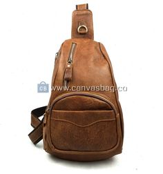 Genda Genuine Cow Leather Cross Chest Shoulder Sling Bag Small Backpack Travel On Brown ** Check this awesome product by going to the link at the image. Backpack For Teens, Small Backpack, Sling Backpack, Best Travel Accessories, Cheap Bags, Leather Men, Cowhide Leather, Casual Bags, Vintage Men