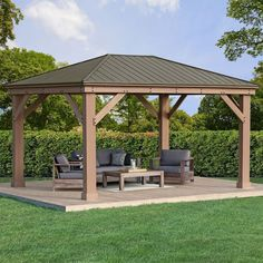 x Cedar Gazebo with Aluminum Roof - Terrasse Backyard Pavilion, Backyard Gazebo, Backyard Patio Designs, Deck With Pergola, Wooden Pergola, Pergola Shade, Patio Roof, Pergola Designs, Pergola Patio