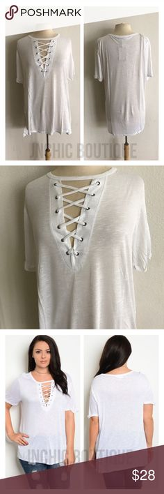 """(Plus) White laced up tee Laced up look tshirt. 100% rayon. Lightweight, super soft, and stretchy! These are somewhat sheer. Side slits. Cuffed sleeves (sewn cuffed). For a less fitted/ more flowy look please order up one size.  1x: L 30"""" B 42"""" 2x: L 30"""" B 44"""" 3x: L 31"""" B 46"""" ⭐️This item is brand new with tags Price is firm unless bundled ✅Bundle offers Availability: 1x•2x•3x • 2•2•2 Tops Tees - Short Sleeve"""