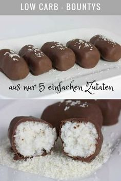 Delicious low carb bounties made from just five simple ingredients. Tastes better than the original. Schmecken besser als das Original. Delicious low carb bounties made from just five. Healthy Protein Snacks, Protein Foods, Diet Foods, Low Carb Desserts, Low Carb Recipes, Diet Recipes, Law Carb, Comida Keto, Low Carb Chocolate