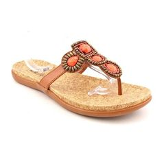 #sale Kenneth Cole Reaction Women's Glam Me Up Thong Sandals in Tan Size 8.5