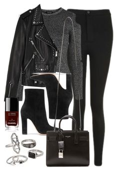 """Style #11629"" by vany-alvarado ❤ liked on Polyvore featuring Topshop, Gianvito Rossi, AllSaints, Yves Saint Laurent, Mudd and Chanel #winteroutfits"