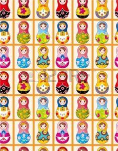 naadloze Russische poppetjes patroon Illustratie
