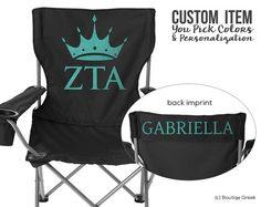 ZTA Zeta Tau Alpha Crown Personalized Sorority Glamping Chair