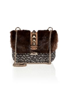 VALENTINO Leather/Mink Crystal Embellished Rockstud Shoulder Bag