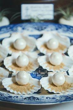 Nautical Wedding Cake Balls on Half Shell Groom Table Party