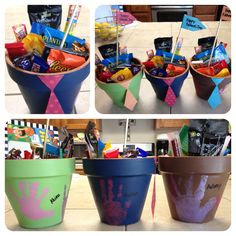 Father's day goodie pots. Use acrylic paint to personalize each flower pot. I put my kids handprints on mine. The year is written on the base of the pot. Spray w/ clear coating to seal color. Let dry. Fill w/ goodies! (chocolates, gum, nuts, & jerky)