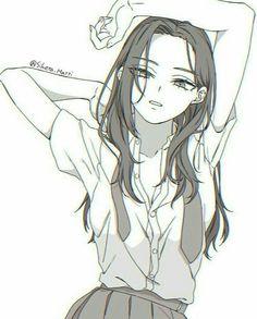 Momo Yaoyorozu / Creati (My Hero Academia) Drawing Base, Manga Drawing, Manga Art, Anime Drawings Sketches, Anime Sketch, Kawaii Anime Girl, Anime Art Girl, Anime Girls, Wie Zeichnet Man Manga