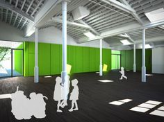 Architectural Rendering, Architectural renderings of the child day care center an industrial in Barcelona
