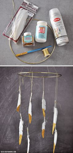 DIY Glitter Feathers | Vicky Barone