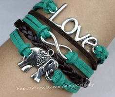 Love and infinity the elephant charm bracelet green by Carlydiy, $3.99