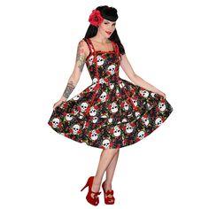 Kleid Voodoo Vixen Rosen Totenkopf Rockabilly Kitsch 50er Party Ball in Kleidung & Accessoires | eBay