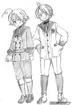 ((Official art of young America and Canada in School Uniforms))