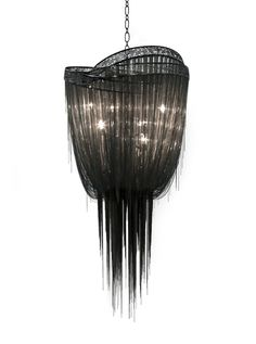 """BLACK MOTHER Chandelier   Design by Baylar Atelier Black Nickel Laser Cut Rings and Chains  Size Shown  Large: 36"""" W x 27""""D x 60"""" H  Small: 27""""W x 21""""D x 45""""H  Custom Sizes Available  6x Candelabra Bulbs"""