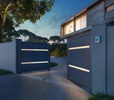Modern Front Gate Design, Gate Designs Modern, Steel Gate Design, Iron Gate Design, House Gate Design, Front Door Design, Modern Entrance Door, Entrance Design, Entrance Gates