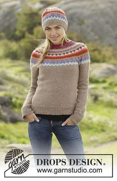Stavanger jumper and hat by DROPS Design. Free knitting pattern
