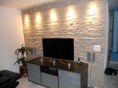 Wand Wohnzimmer Stein Mit Licht