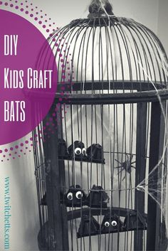 Create this easy Halloween Kids Craft, DIY Bats out of everyday supplies. Your kiddos will love hanging up their creations as decoration around your home!