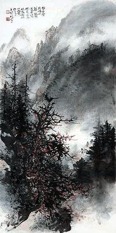 Trees, mountains, mist -  by Li Xiongcai (1910-2001), China. Lingnan School.