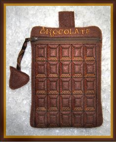 Chocolate Zippered Bag For the Chocoholic on your life! ITH In The Hoop Zippered Bag Machine Embroidery File