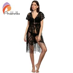6e4ab48515bfc Andzhelika 2018 New Swimsuit Cover Up Summer Sexy Women Beachwear Cover Up  Crochet Hollow Lace Tassel