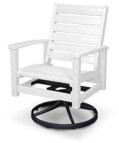 Polywood 1930-12WH Signature Swivel Rocker Chair Textured Black / White Finish
