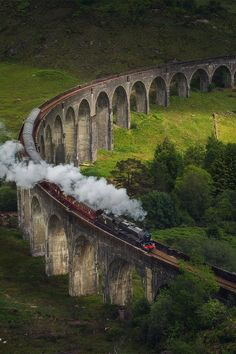 Hogwarts express train on the Glenfinnan viaduct / Scotland by Daniel Korzhonov