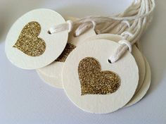 35 Ivory and Gold Heart Small Tags with Pale by PaperTrailbyLauraB, $25.00