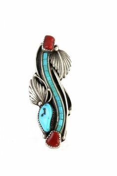 Apache Indian Made Sterling Silver Turquoise Coral Ring Darrell Victor | eBay