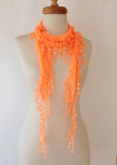Neon Orange Scarf ,Summer, for Spring ,Headband ,Triangle Scarf ,Beach, Pareo, $13.00