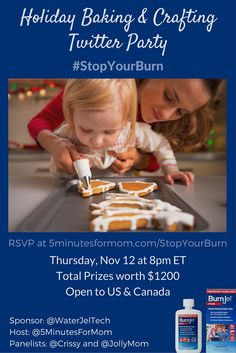 Holiday Baking and Crafting Twitter Party -- Nov 12, 8pm ET -- $1200 Prizes open to US and Canada #StopYourBurn sponsored by WaterJel Tech