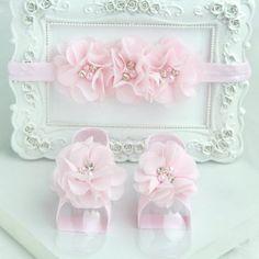 Newborn pink barefoot sandals & headband baby hair accessories C224