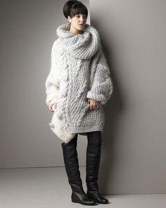 fuzzyfindings:  Nina Ricci Asymmetric Sweater  - Lovely! - and the boots…
