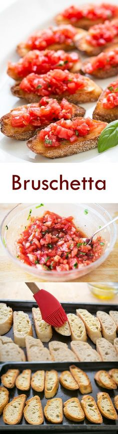 Bruschetta with tomato and basil! Chopped fresh tomatoes with garlic, basil, olive oil, and vinegar, served on toasted slices of French or Italian bread. On SimplyRecipes.com #healthy #vegan #bruschetta #appetizer